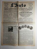 N274 La Une Du Journal l'auto 8 juillet 1907 le tour de France