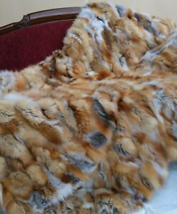 Real Fur throw, fur blanket from red fox