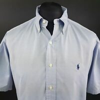 Polo Ralph Lauren Mens Shirt 16 35 (XL) Short Sleeve Blue Classic Fit Cotton