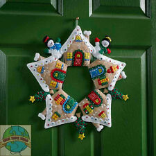 Felt Embroidery Kit ~ Plaid-Bucilla Gingerbread Wreath XMAS Wall Hanging #86677