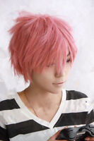 HOT! For cosplay fairy tail Natsu Dragneel short pink party wig +free wig cap