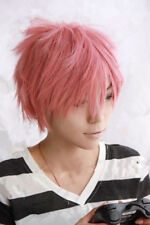 HOT! NEW fairy tail Natsu Dragneel short pink cosplay party wig +free wig cap