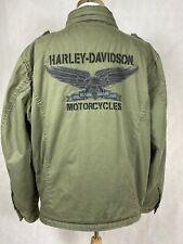 Vintage Harley-Davidson Army-Style Motorcycle Field Jacket Olive Green 2XL EUC