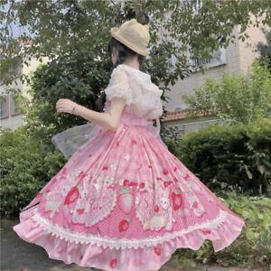 Women Girls Lolita Dress Lace Ruffle Frill Pleat Japanese Kawaii Lovely Cosplay