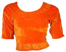 Orange Samt Top Choli für Bollywood Sari Gr. S bis 3XL