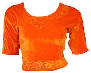 Orange Samt Top Choli Oberteil für indischer Sari Bollywood Gr. S bis 3XL