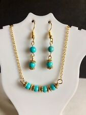 "Turquoise Choker, Necklace 16.5"" With Earrings Handmade"