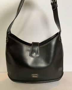 Dooney Bourke Black All Patent Leather hobo Shoulder Bag Purse Rubber Parasole