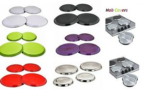 STAINLESS STEEL COLOURED HOB COVERS METAL RING ELECTRIC COOKER HOB PROTECTOR SET