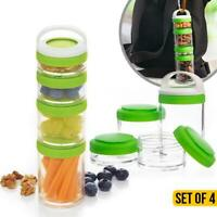 Stackable Snack Containers Set of 4 Dishwasher Safe Mix & Match twist & lock