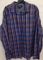 Claiborne Purple Red And Blue Long Sleeve Plaid Shirt Mens Size X-Large XL