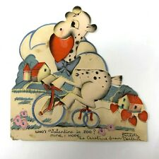 1930s adorable anthropomorphic giraffe on a bicycle moving valentine card