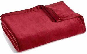 Classic Velvety Plush Faux Fleece Blanket King 108x90 Garnet
