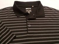 Adidas Climacool Mens Large Short Sleeve Black Striped Athletic Polo Golf Shirt