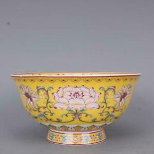 Chinese Famille Rose Porcelain Qing Qianlong Lotus Flower Design Bowl 6.1 inch