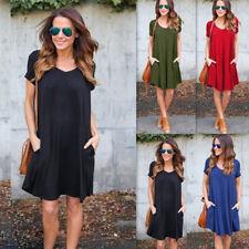 Women Summer Solid V Neck Short Sleeve Mini Dress Casual Loose Short Sundress