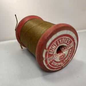 Vintage Aunt Lydia's Button Carpet Thread Brown American Thread Rare Red Wooden