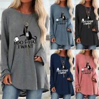 Womens Sweatshirt Ladies Long Sleeve Tee T Shirt Blouse Loose Cat Jumper Tops