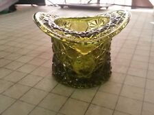 """Set of 2 - Green Indiana Glass Daisy & Buttons Top Hat Trinket Candy Dish 3 1/4"""""""