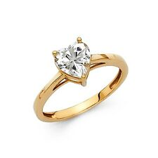 1.25 Ct Heart Cut Solitaire Engagement Wedding Ring Solid 14K Yellow Gold