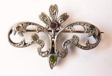 Broche ancienne fleur en ARGENT massif et strass 19e siècle  silver brooch
