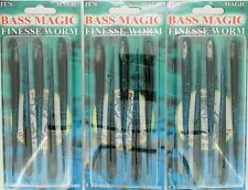 """(3) Packs Of 5 Bass Magic 5 1/2"""" Finesse Worms Blk/Blue BMFW55-445-5"""