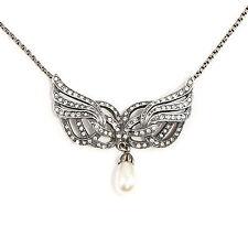 Jugendstil-Collier mit Swarovski-Steinen und Perle Flügel 9901676