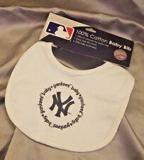 "New York Yankees ""Yankees Baby"" Bib White Navy MLB Baseball Cotton SHIPS FREE"