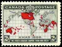 Canada #85 mint F-VF OG NH 1898 Map/Xmas 2c black,lavender & carmine CV$115.00