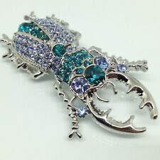 STAG BEETLE BROOCH PIN Teal Blue Rhinestone Silver Tone Insect Costume Jewelry