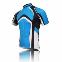 Blue Cycling Jersey Full Zip Men's Short Sleeve Bike Bicycle Jersey Shirt S-5XL