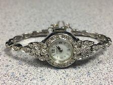 HAMILTON 46 diamond 14K gold watch solid 14K case/band tennis bracelet