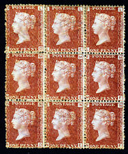 GB Regina Vittoria 1876 1d Rosso PIASTRA 201 un blocco di nove LD-NF SG 43 Nuovo di zecca & Gomma integra, non linguellato