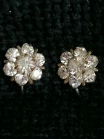Vintage 40s Deco Clear Rhinestone Flower Sparkly Screw Back Clip on Earrings