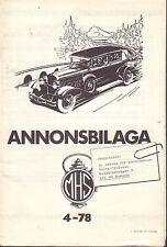 Motorhistoriskt Magasin Annons Swedish Car Magazine 4 1978 Cadillac 032717nonDBE