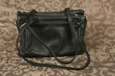 Stone Mountain Purse Black Leather Gold Hardware Shoulder Bag Trio Zipper Pocket