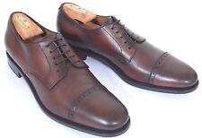 Ferragamo Tramezza Shoes 11 B Men's Brown Lace-up Cap-Toe Oxfords Leather Sole
