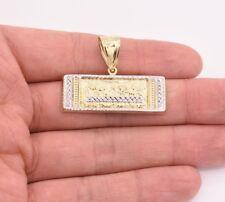 Pendant Real 10K Yellow White Gold Jesus Last Supper Crucifix Diamond Cut Charm