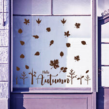 Hello Autumn Time Greetings Vinyls Shop Window Display Wall Decals Stickers B22