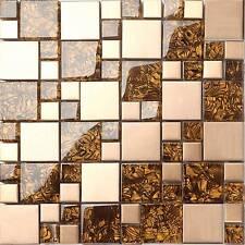 Glass Brushed Steel Mosaic Wall Tiles Copper Metallic Mix Bathroom GTR10087