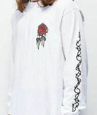 Empyre Mens Barbed Wire Rose White Long Sleeve Tee Shirt New S, M, L, XL