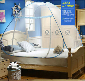 Mosquito Net Easy Pop Up & Fold Free Standing Tent Floor 2-3 Person Double Bed