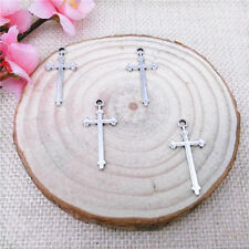 Wholesale 12Pcs Tibet Silver Cross Charm Pendant Beaded Jewelry