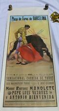 Vintage Bullfight poster reprint Plaza de Toros de Barcelona1943 Used in1956