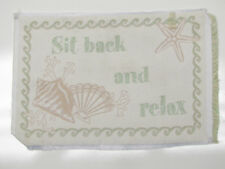 Sit Back Relax Starfish Conch Beach Tapestry Fabric Pillow Frame Wall Piece 13x9