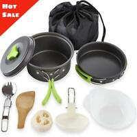 Portable Camping Outdoor Cooking Bowl Pot Pan Set Hiking Cookware Picnic Utensil