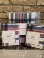 Pottery Barn Teen Oliver Plaid Full Queen Duvet Cover And 2 Shams Bedding Set