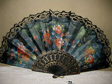 FLORAL HAND HELD FAN Black Lace Black Plastic Ribs/Handle w/tag