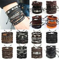 6pcs/set Multilayer Leather Leaf Owl Bracelet Men Women Wristband Bangle Cuff