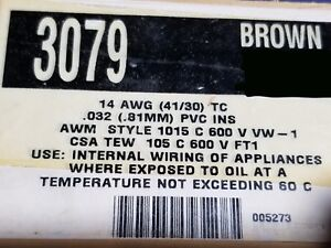 Alpha Wire 3079 #14awg Tinned Copper Hook Up Wire 600V 105C MTW TEW BROWN /50ft